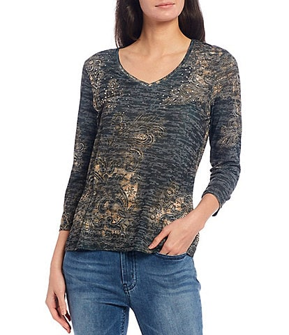 Reba Lace Print Stud Embellished Burnout Jersey V-Neck 3/4 Sleeve Knit Tee