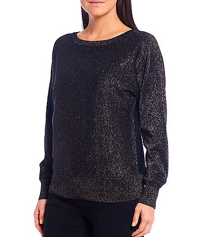 Reba Long Dolman Sleeve Bateau Neck Metallic Jersey Sweater