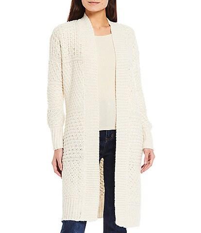 Reba Long Sleeve Textured Jacquard Rib Trim Drop Shoulder Cardigan