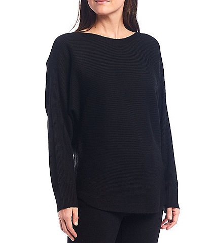 Reba Lyndsey Bateau Neck Hi-Low Hem Long Sleeve Ribbed Tunic Sweater