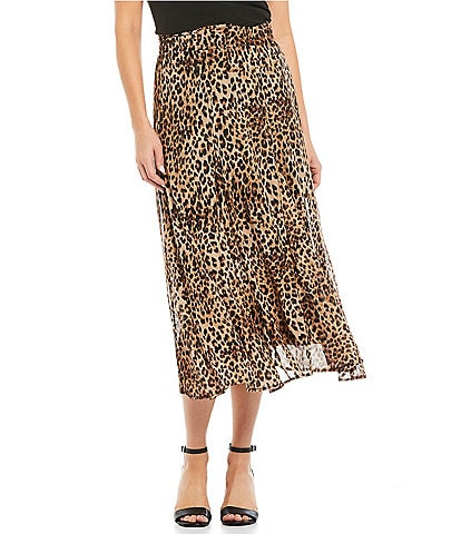 Reba Mesh Smocked Waist Stretch Leopard Print Pleated Midi Skirt