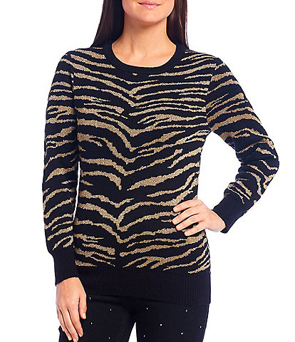 Reba Metallic Zebra Print Jacquard Long Sleeve Pullover Sweater