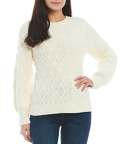 Reba Mixed Cable Knit Crew Neck Bishop Long Sleeve Statement Sweater