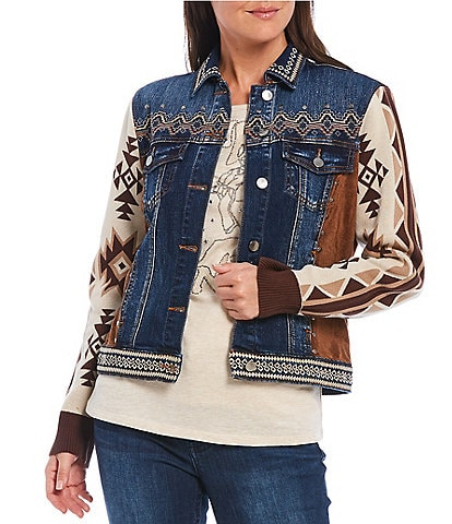 Reba Mixed Media Jacquard Sleeve Faux Suede Side Panel Denim Trucker Jacket