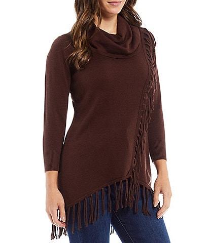 Reba Monica Fringe Cowl Neck 3/4 Sleeve High-Low Statement Sweater