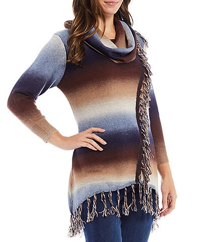 Reba Monica Fringe Cowl Neck 3/4 Sleeve Sweep Front Ombre Statement Sweater