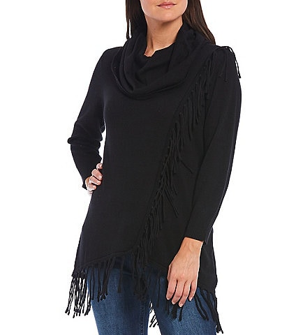 Reba Monica Knit Jersey Long Sleeve Hi-Low Fringed Sweater