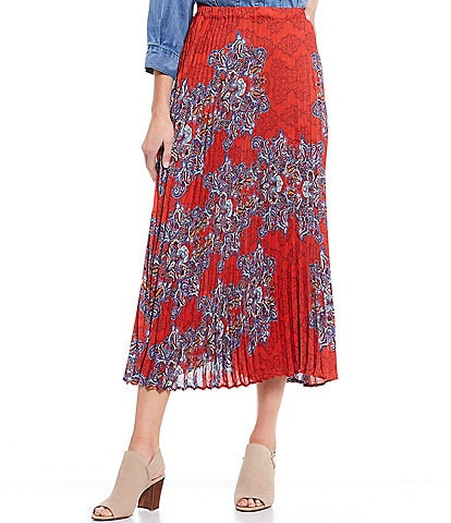 Reba Paisley Print Pleated Charmeuse Pull-On Midi Skirt