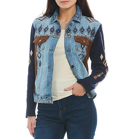 Reba Point Collar Long Sleeve Embroidered Denim Jacket
