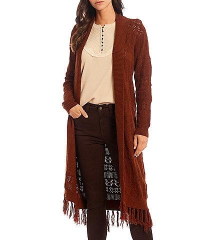 Reba Pointelle Fringe Hem Shawl Collar Long Sleeve Cardigan