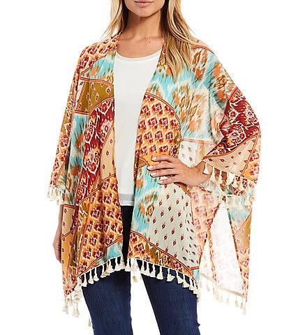 Reba Printed 3/4 Sleeve Tassel Trim Kimono