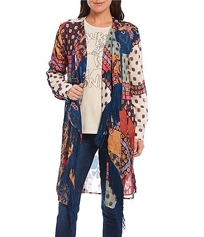 Reba Printed Burnout Open Front Long Sleeve Cascading Fringe Kimono
