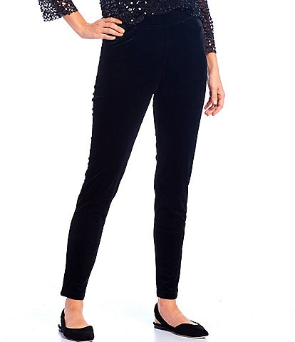 Reba Pull-On Stretch Velvet Leggings