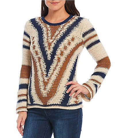 Reba Reverse Cotton Jersey Striped Bell Sleeve Sweater