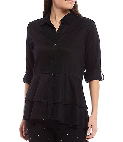 Reba Rodeo Roll-Tab Sleeve Hi-Low Layered Ruffle Button Front Shirt