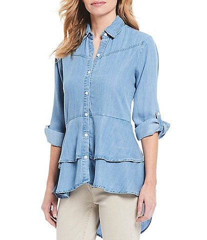 Reba Roll-Tab Sleeve Chambray Layered Ruffle Hem Hi-Low Shirt