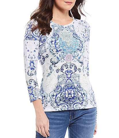 Reba Scroll Print Stud Embellished Burnout Jersey Knit Tee