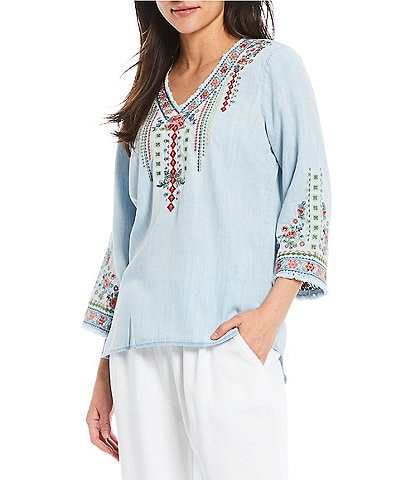 Reba 3/4 Sleeve Multi Colored Embroidered Chambray Tunic