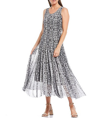 Reba Snake Print A-Line Scoop Neck Sleeveless Flared Hem Mesh Midi Dress