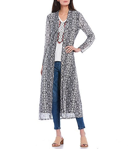 Reba Snake Print Long Sleeve Button Front Duster