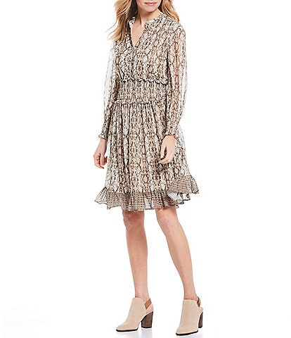 Reba Snake Print Smocked Waist Stretch Mesh Ruffle Hem Dress