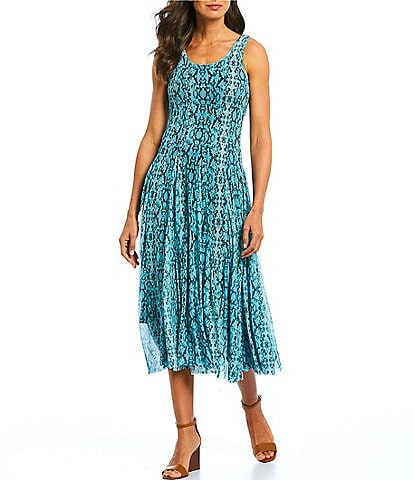 Reba Snake Print Stretch Mesh Tank Flounce Sleeveless A-Line Midi Dress