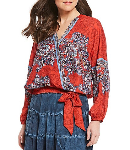 Reba Surplice V-Neck Long Sleeve Smocked Hem Paisley Print Faux Wrap Top
