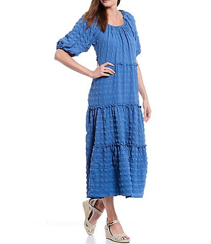 Reba Tiered Elastic Scoop Neck Elbow Sleeve Textured Crepe Dress