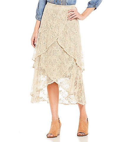 Reba Tiered Ruffle Lace Hi-Low Midi Skirt