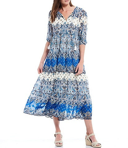 Reba Tiered Split V-Neck Tassel Tie Empire Waist Jacquard Print Volume Dress