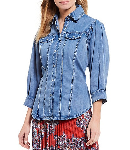 Reba Volume Sleeve Button Front Denim Shirt