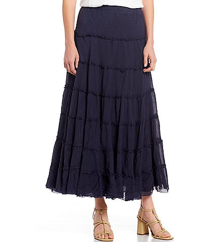 Reba Willow Crinkled Cotton Tiered Maxi Skirt