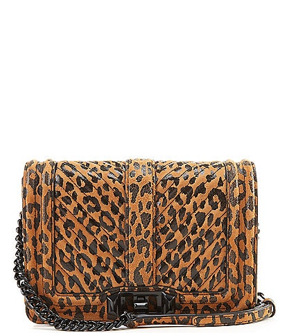 REBECCA MINKOFF Chevron Quilted Leather Small Animal Print Love Crossbody Bag