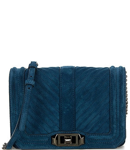 REBECCA MINKOFF Chevron Quilted Suede Small Love Crossbody Bag