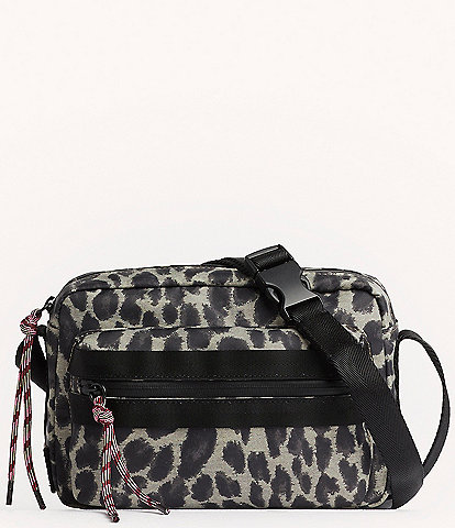REBECCA MINKOFF Downtown Nylon Leopard Print Camera Crossbody Bag