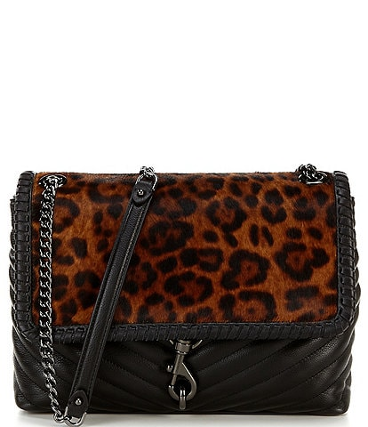 REBECCA MINKOFF Edie Whipped Leopard Print Haircalf Flap Leather Shoulder Bag