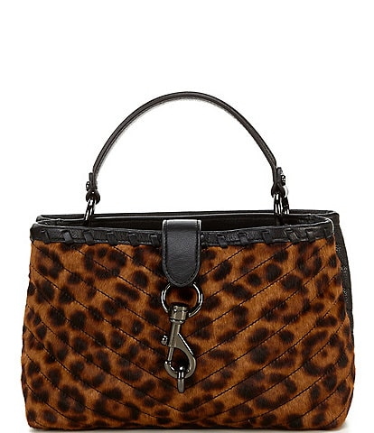 REBECCA MINKOFF Edie Whipped Top Handle Quilted Leopard Haircalf Satchel Bag