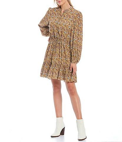 REBECCA MINKOFF Helen Banded Collar Long Blouson Sleeve Field of Flowers Print Half Button Front A-Line Dress