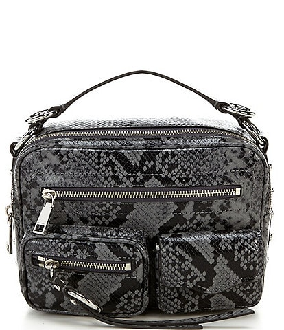 REBECCA MINKOFF Jett Boxy Leather Snake Print Crossbody Bag