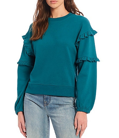 REBECCA MINKOFF Evelyn Long Sleeve Crew Neck Ruffle Evelyn Statement Sweater