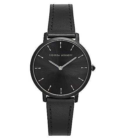 REBECCA MINKOFF Major Black Tone Black Strap Watch