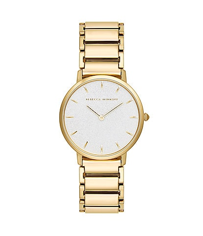 REBECCA MINKOFF Major Gold Tone Glitter Bracelet Watch