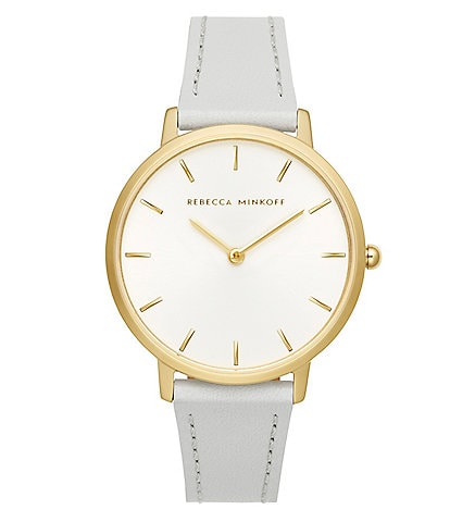REBECCA MINKOFF Major Gold Tone Ice Grey Strap Watch
