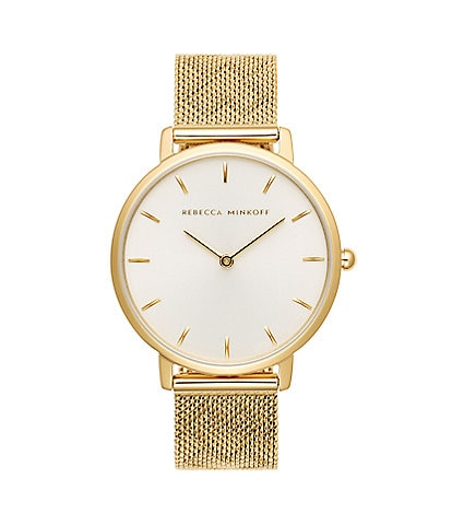 REBECCA MINKOFF Major Gold Tone Pressed Mesh Watch