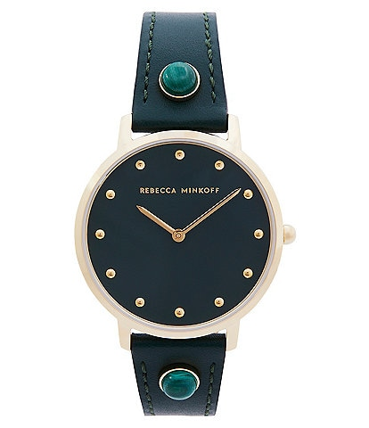 REBECCA MINKOFF Major Green Leather Watch