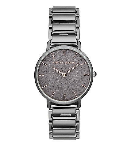 REBECCA MINKOFF Major Grey Ion Plated Tone Bracelet Watch