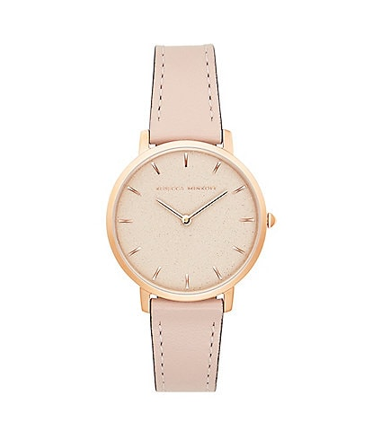 REBECCA MINKOFF Major Leather Strap Rose Gold Watch