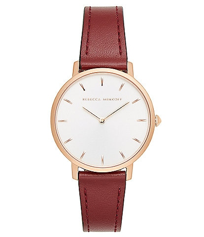 REBECCA MINKOFF Major Rose Gold Tone Bordeaux Strap Watch