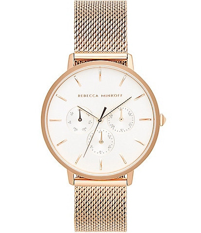 REBECCA MINKOFF Major Rose Gold Tone Mesh Bracelet Watch