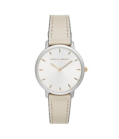 REBECCA MINKOFF Major Silver-Tone Putty Strap Watch